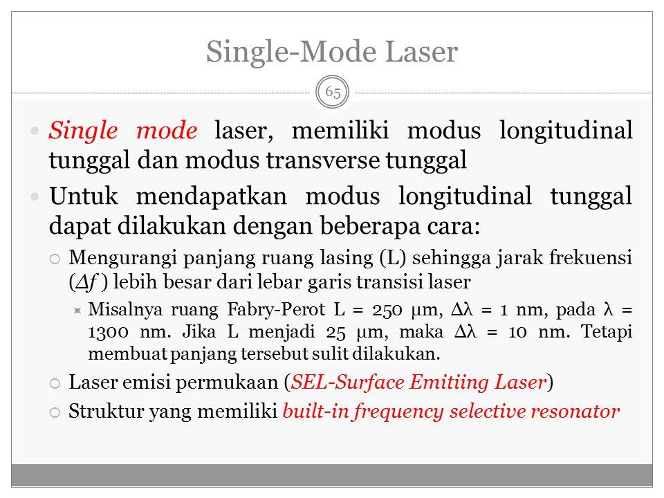 Single-Mode Laser Single mode laser, memiliki modus longitudinal tunggal dan modus transverse tunggal.