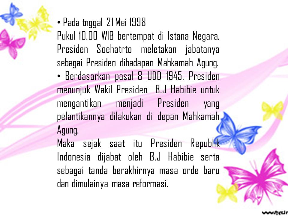 Pada tnggal 21 Mei 1998