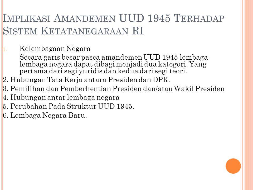 Implikasi Amandemen UUD 1945 Terhadap Sistem Ketatanegaraan RI