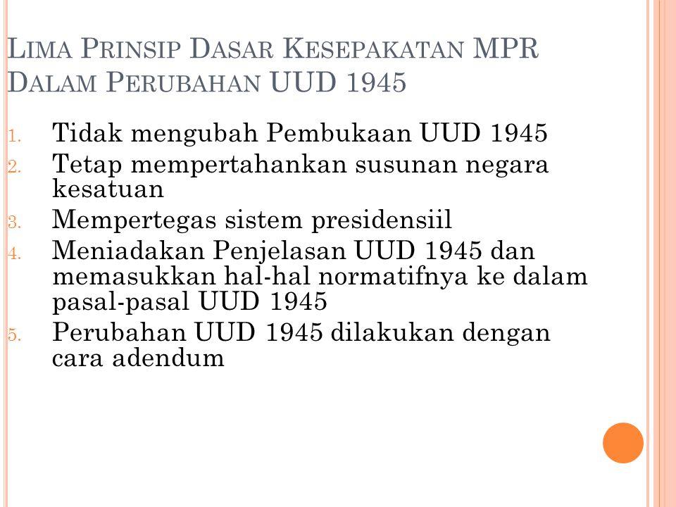 Lima Prinsip Dasar Kesepakatan MPR Dalam Perubahan UUD 1945