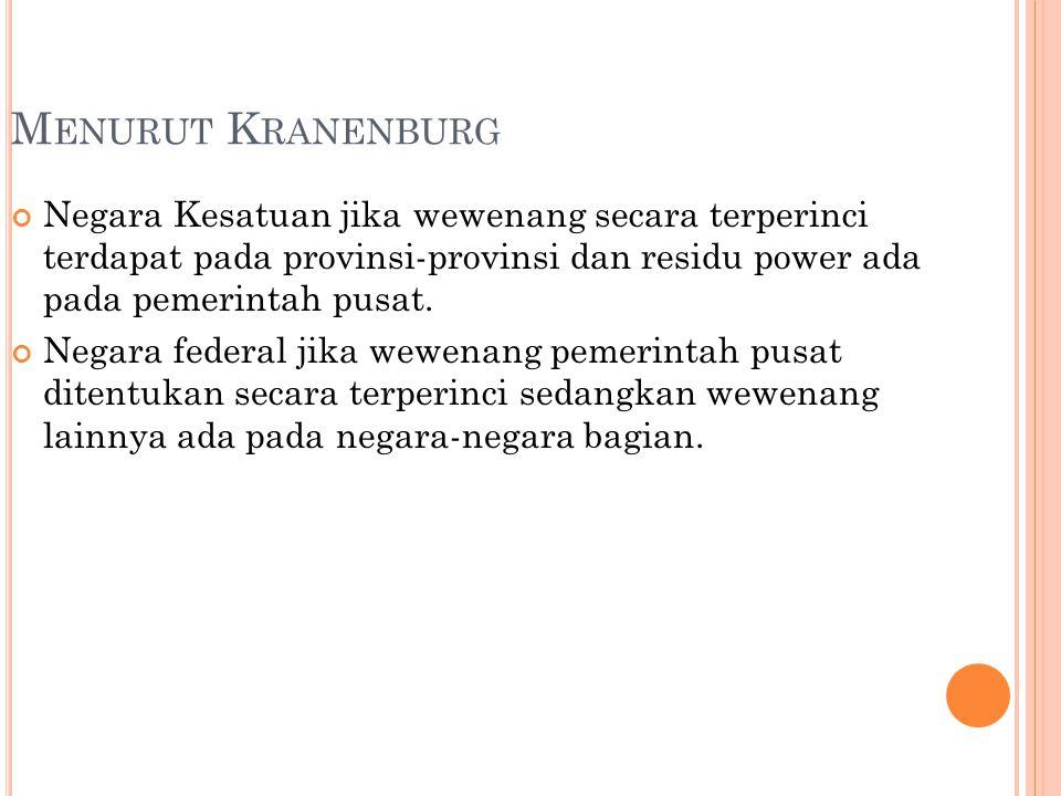 Menurut Kranenburg Negara Kesatuan jika wewenang secara terperinci terdapat pada provinsi-provinsi dan residu power ada pada pemerintah pusat.