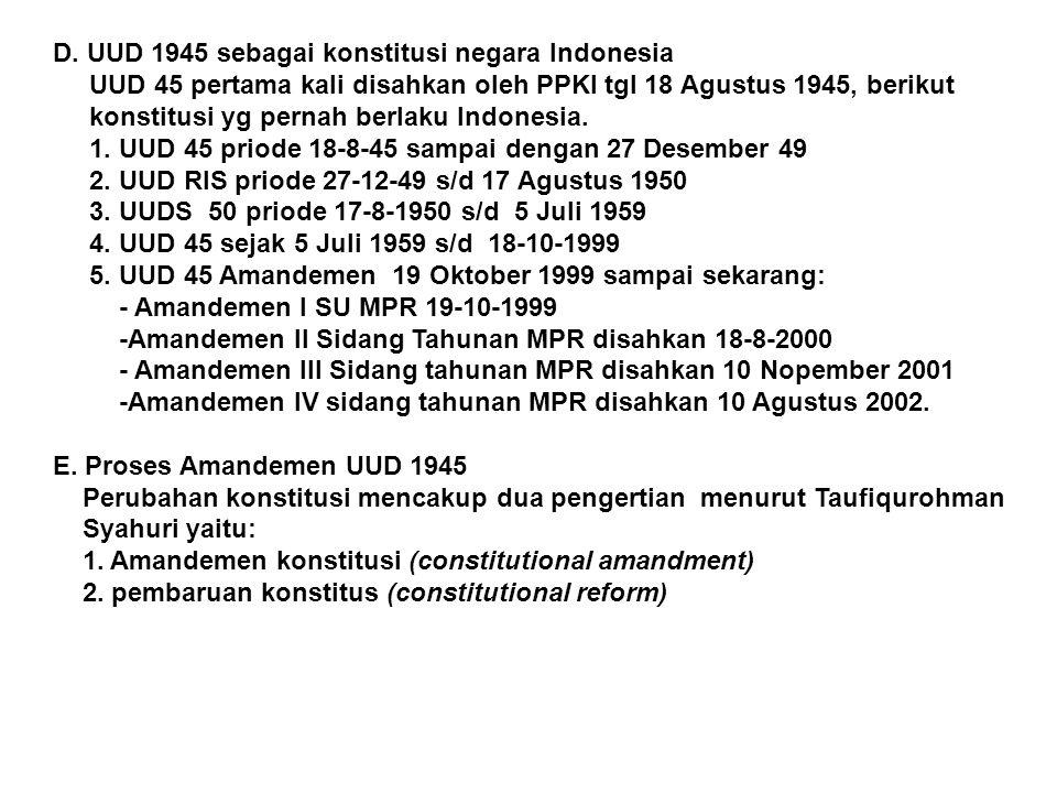 D. UUD 1945 sebagai konstitusi negara Indonesia