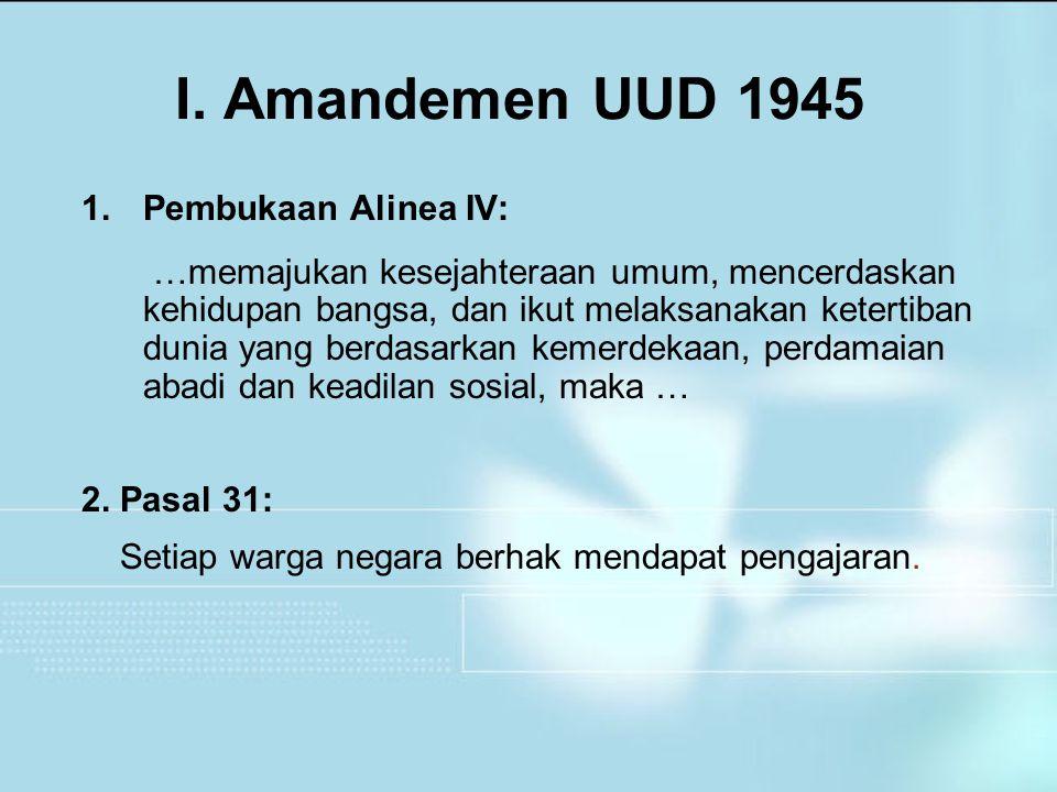 I. Amandemen UUD 1945 Pembukaan Alinea IV: