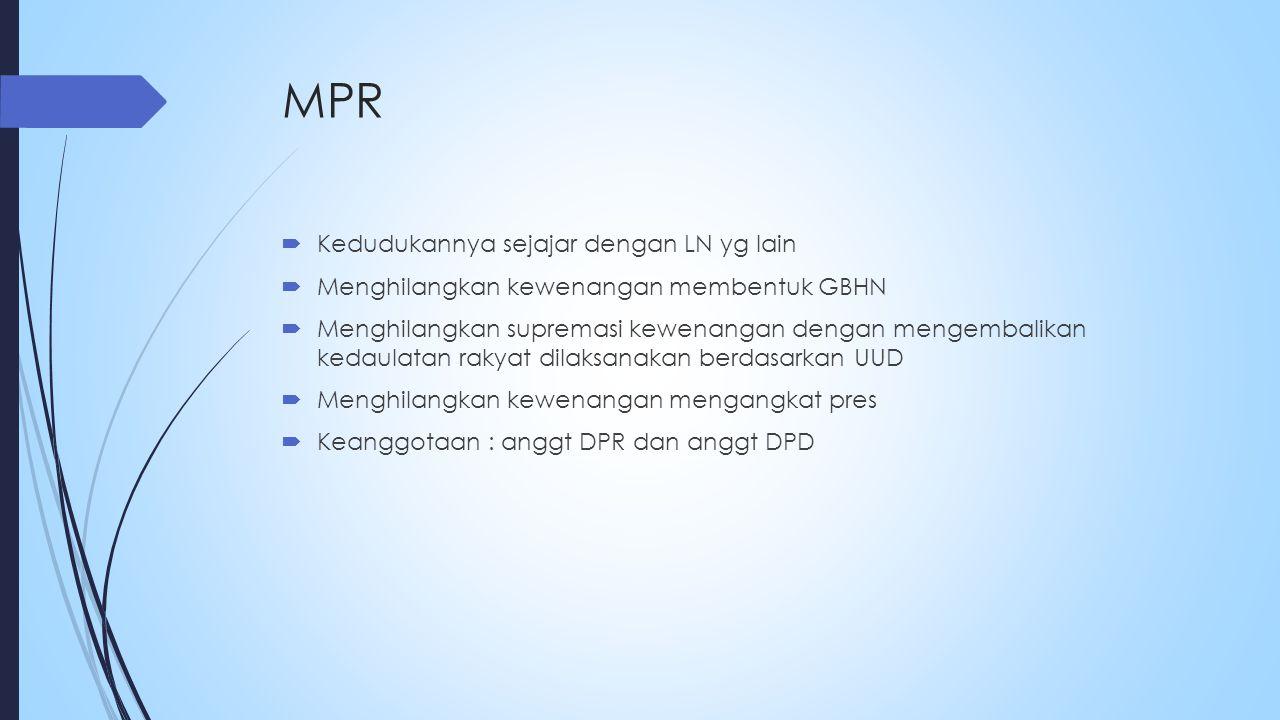 MPR Kedudukannya sejajar dengan LN yg lain