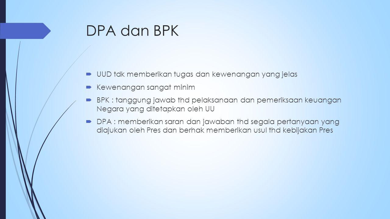 DPA dan BPK UUD tdk memberikan tugas dan kewenangan yang jelas