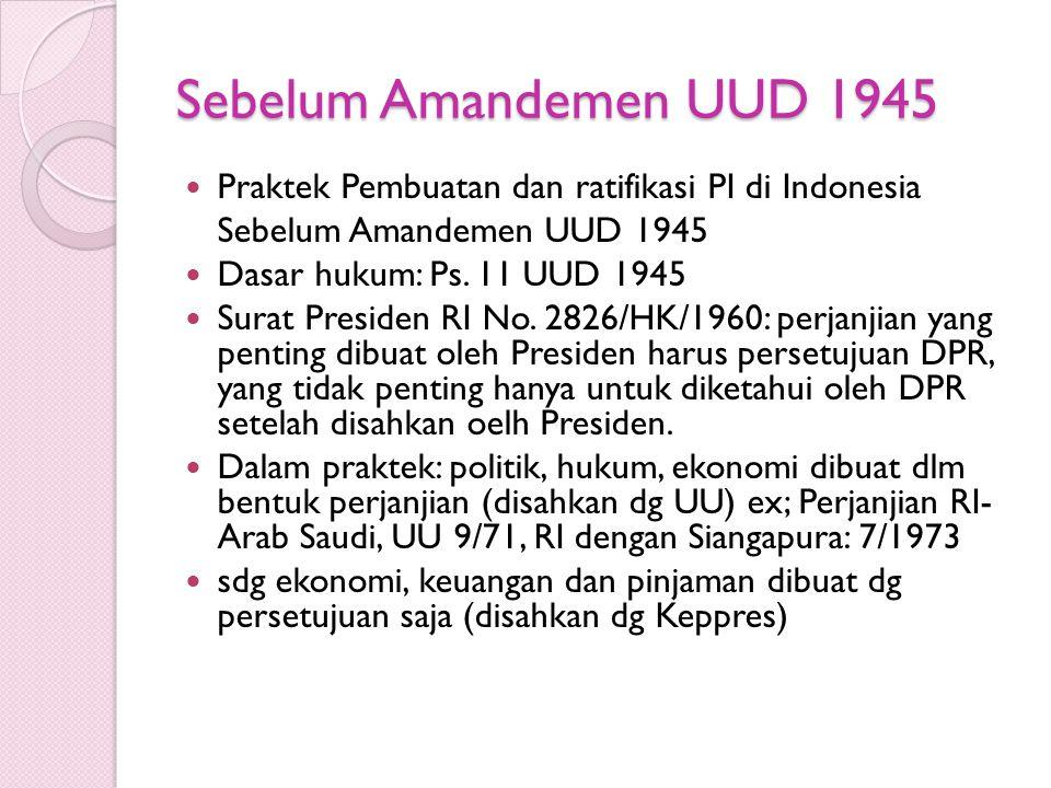 Sebelum Amandemen UUD 1945 Praktek Pembuatan dan ratifikasi PI di Indonesia. Sebelum Amandemen UUD 1945.