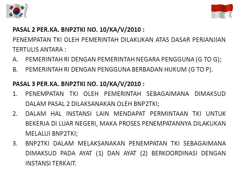 PASAL 2 PER.KA. BNP2TKI NO. 10/KA/V/2010 :