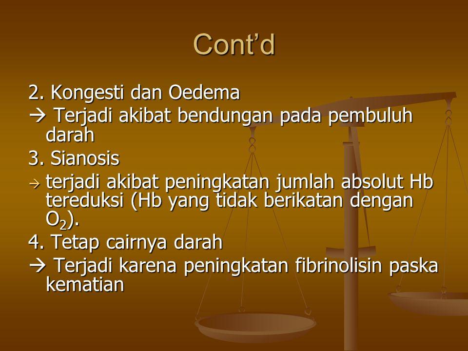 Cont'd 2. Kongesti dan Oedema
