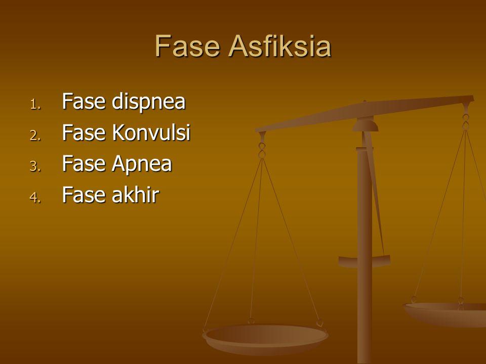 Fase Asfiksia Fase dispnea Fase Konvulsi Fase Apnea Fase akhir
