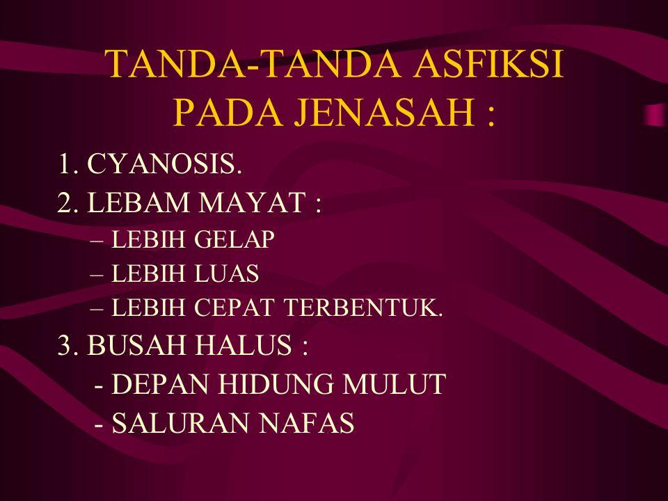 TANDA-TANDA ASFIKSI PADA JENASAH :