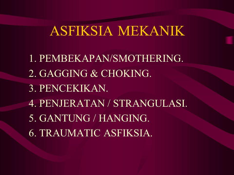 ASFIKSIA MEKANIK 1. PEMBEKAPAN/SMOTHERING. 2. GAGGING & CHOKING.