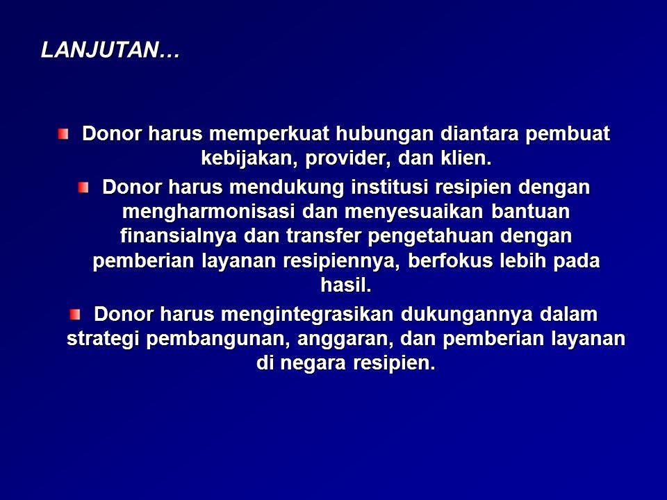 LANJUTAN… Donor harus memperkuat hubungan diantara pembuat kebijakan, provider, dan klien.