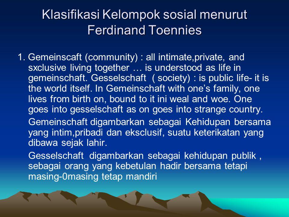 Klasifikasi Kelompok sosial menurut Ferdinand Toennies
