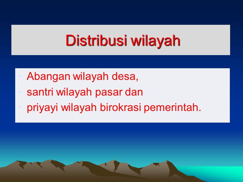 Distribusi wilayah Abangan wilayah desa, santri wilayah pasar dan