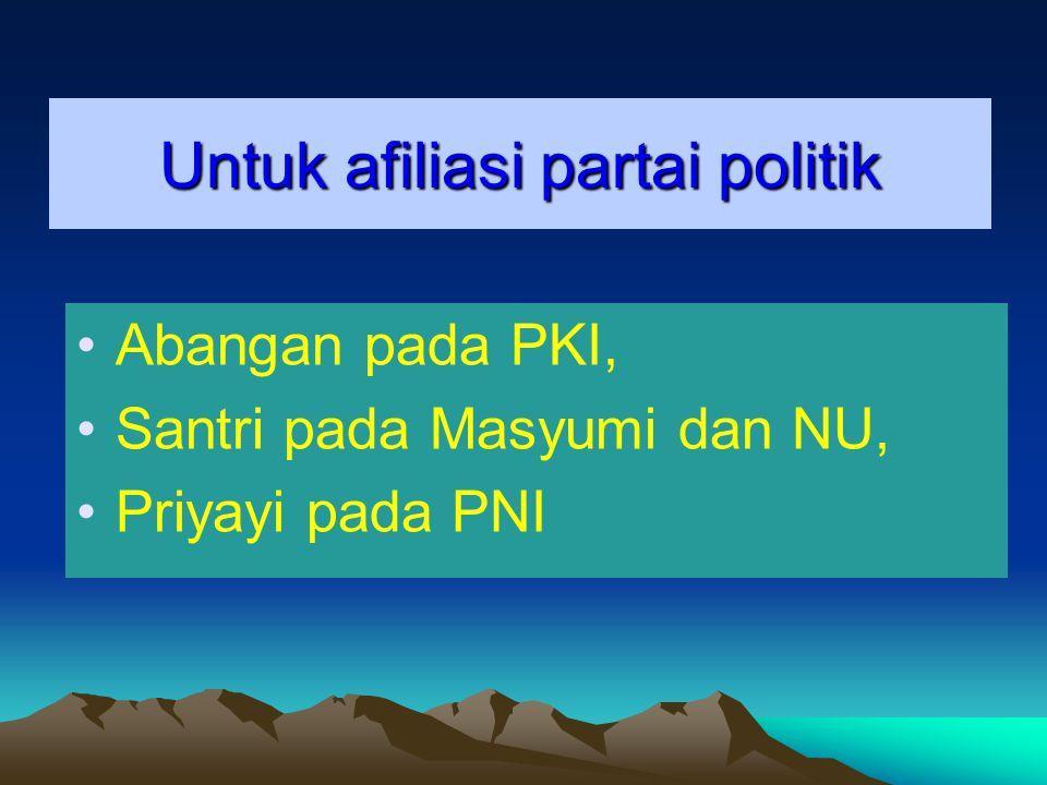 Untuk afiliasi partai politik