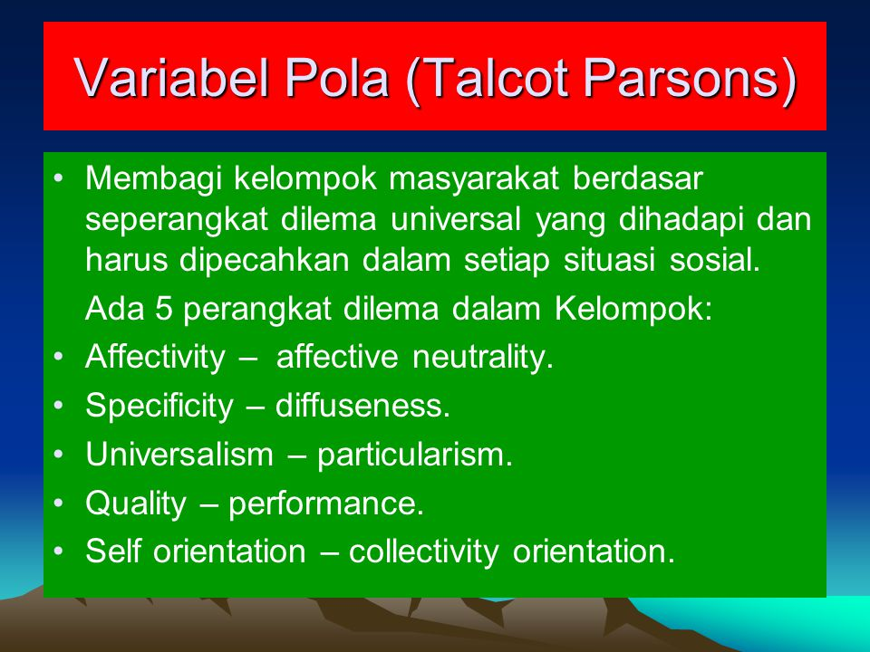 Variabel Pola (Talcot Parsons)