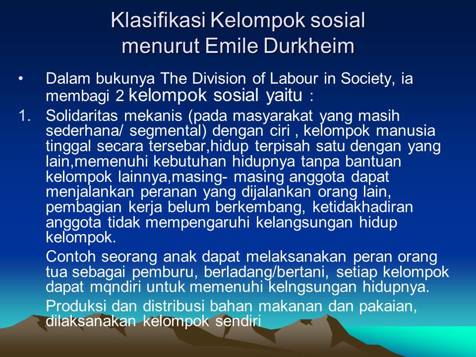Klasifikasi Kelompok sosial menurut Emile Durkheim
