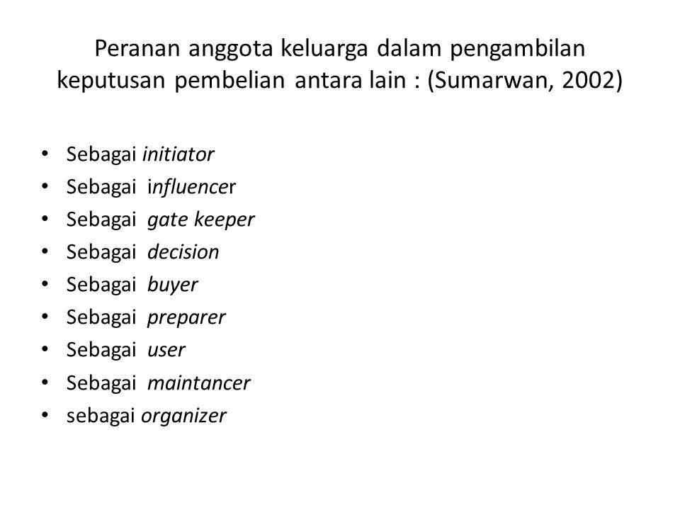 Peranan anggota keluarga dalam pengambilan keputusan pembelian antara lain : (Sumarwan, 2002)