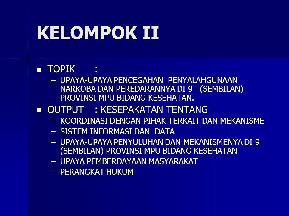 KELOMPOK II TOPIK : OUTPUT : KESEPAKATAN TENTANG