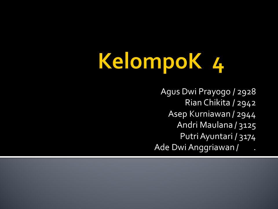KelompoK 4 Agus Dwi Prayogo / 2928 Rian Chikita / 2942