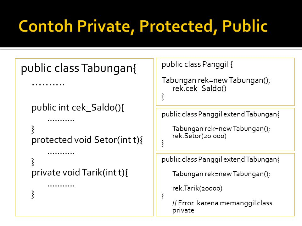 Contoh Private, Protected, Public