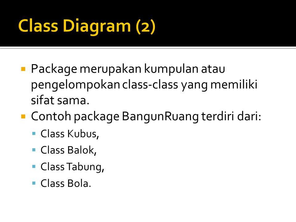 Class Diagram (2) Package merupakan kumpulan atau pengelompokan class-class yang memiliki sifat sama.