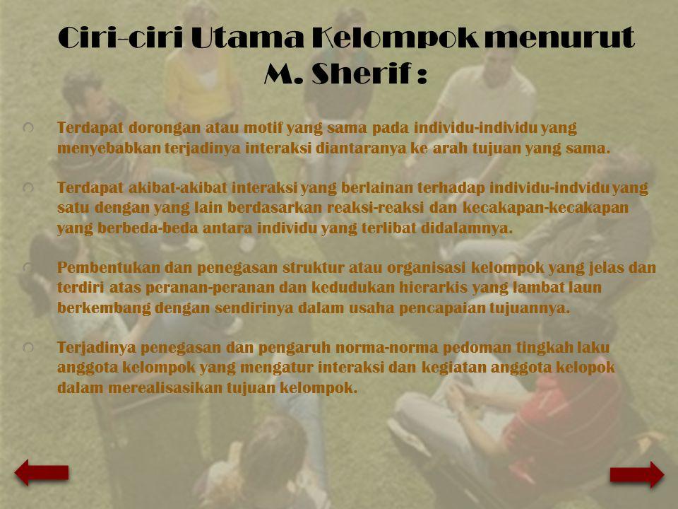 Ciri-ciri Utama Kelompok menurut M. Sherif :