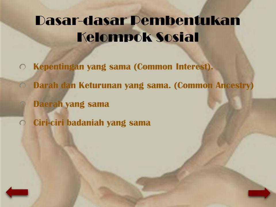 Dasar-dasar Pembentukan Kelompok Sosial