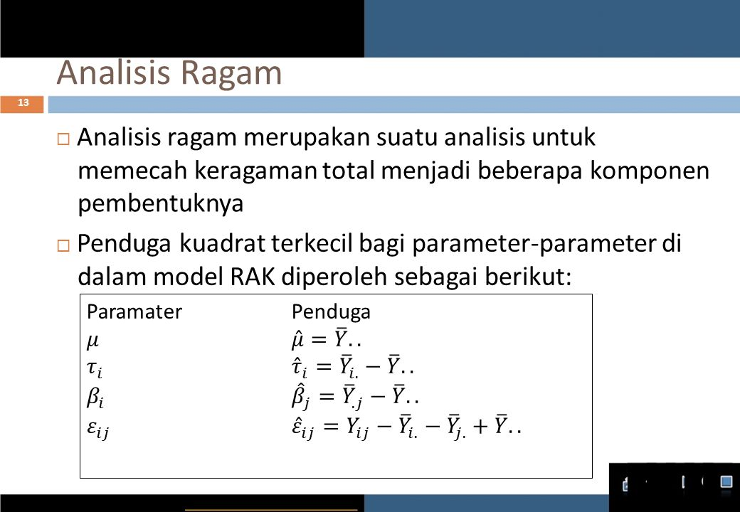 Analisis Ragam Paramater Penduga 𝜇 𝜇 = 𝑌 .. 𝜏 𝑖 𝜏 𝑖 = 𝑌 𝑖. − 𝑌 ..