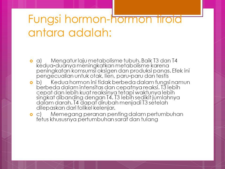 Fungsi hormon-hormon tiroid antara adalah: