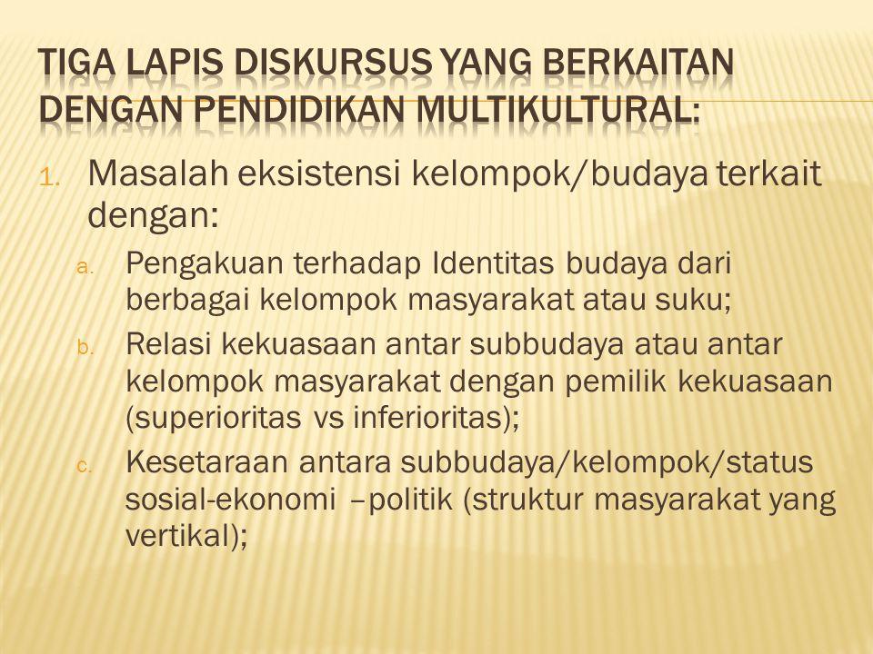 Tiga lapis diskursus yang berkaitan dengan pendidikan multikultural: