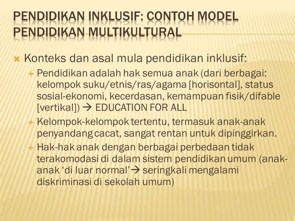 Pendidikan inklusif: contoh model pendidikan multikultural