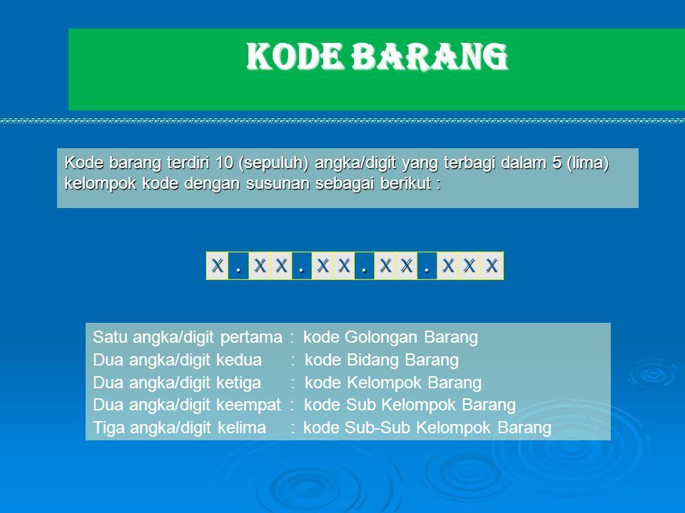 KODE BARANG Kode barang terdiri 10 (sepuluh) angka/digit yang terbagi dalam 5 (lima) kelompok kode dengan susunan sebagai berikut :