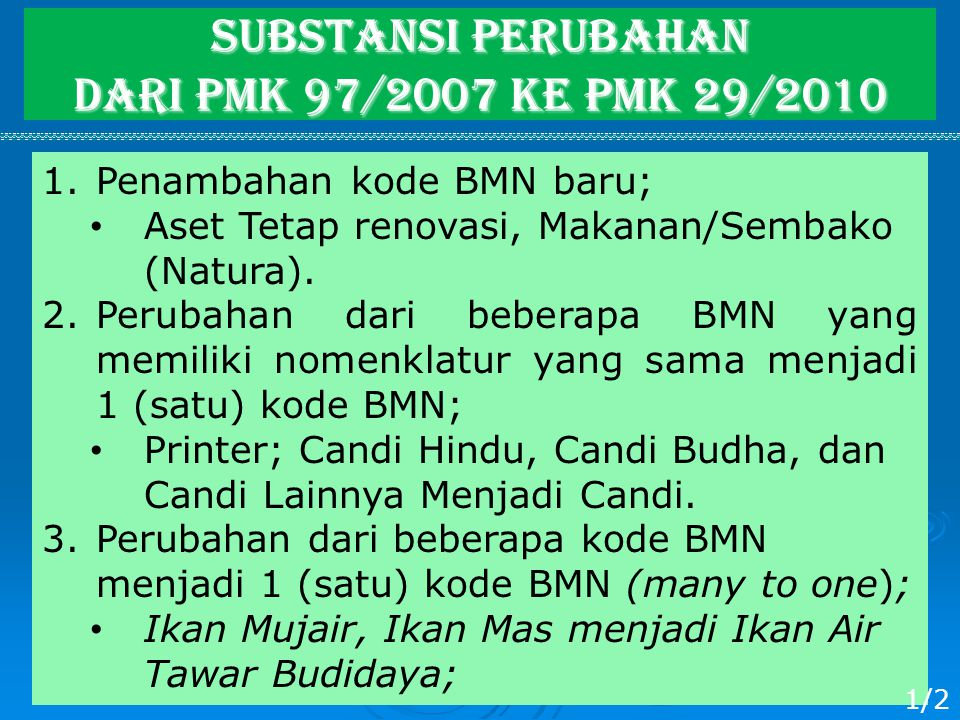 SUBSTANSI Perubahan dari PMK 97/2007 ke PMK 29/2010