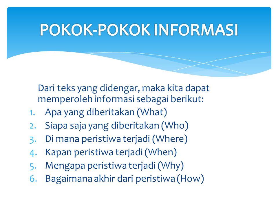 POKOK-POKOK INFORMASI