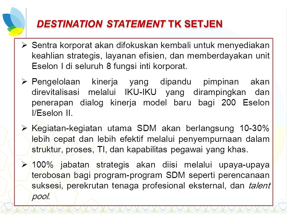 DESTINATION STATEMENT TK SETJEN
