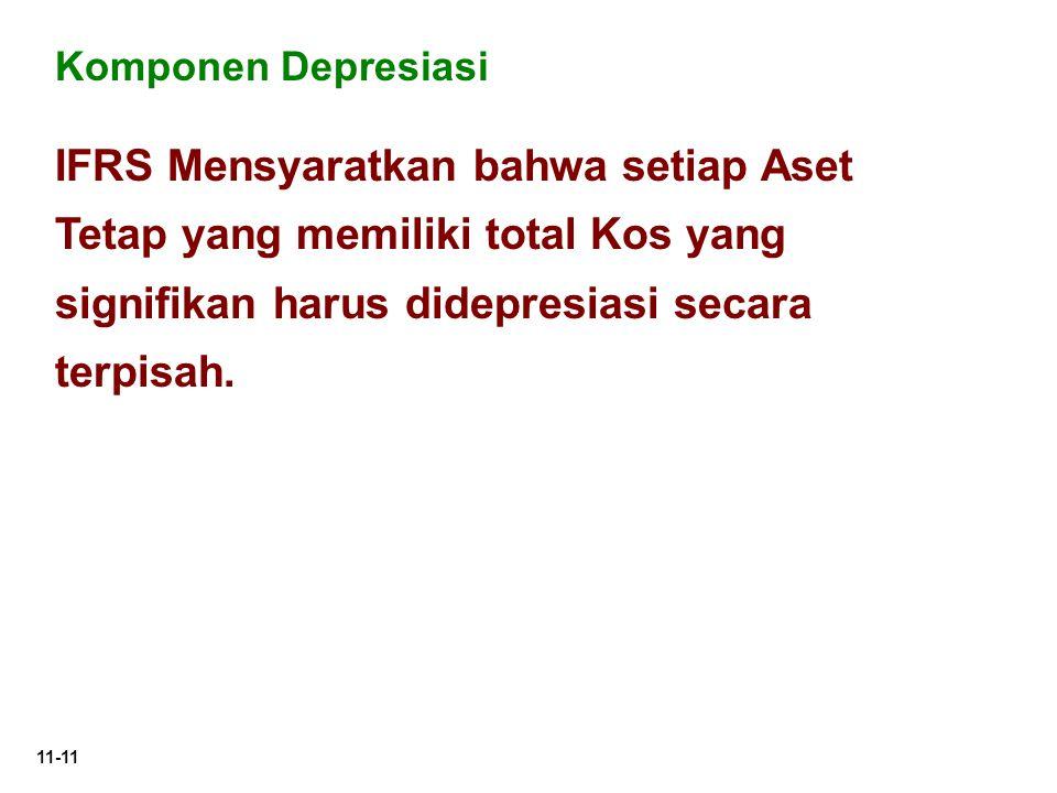 Komponen Depresiasi IFRS Mensyaratkan bahwa setiap Aset Tetap yang memiliki total Kos yang signifikan harus didepresiasi secara terpisah.