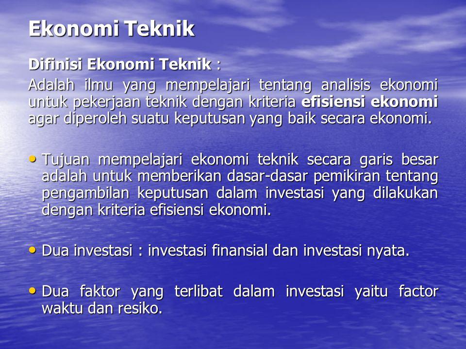 Ekonomi Teknik Difinisi Ekonomi Teknik :