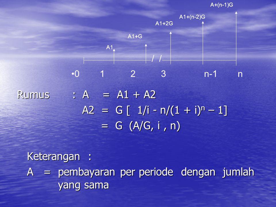A = pembayaran per periode dengan jumlah yang sama