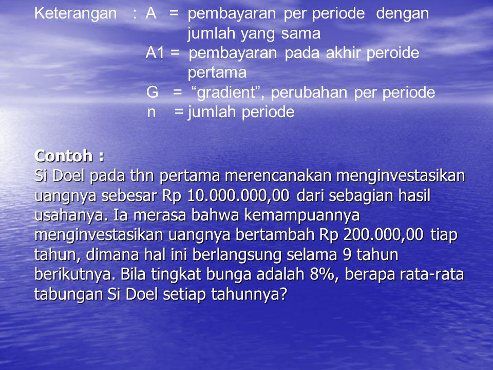 Keterangan : A = pembayaran per periode dengan jumlah yang sama