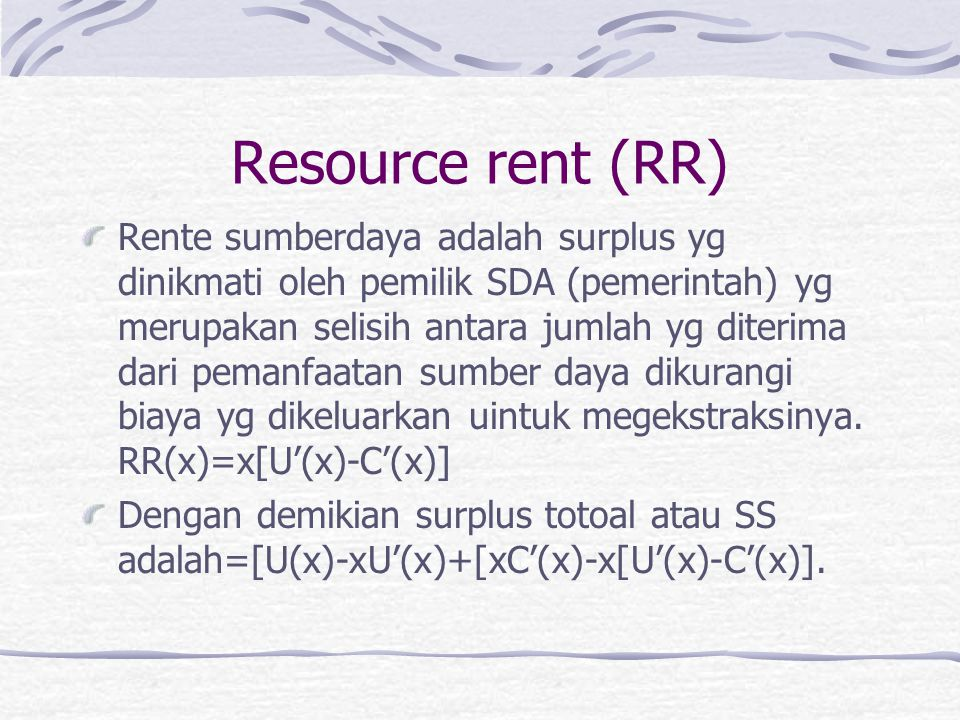 Resource rent (RR)