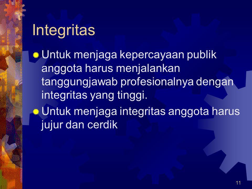 Integritas Untuk menjaga kepercayaan publik anggota harus menjalankan tanggungjawab profesionalnya dengan integritas yang tinggi.