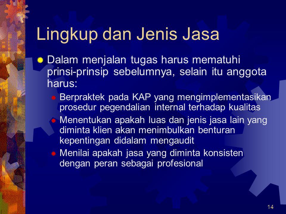Lingkup dan Jenis Jasa Dalam menjalan tugas harus mematuhi prinsi-prinsip sebelumnya, selain itu anggota harus: