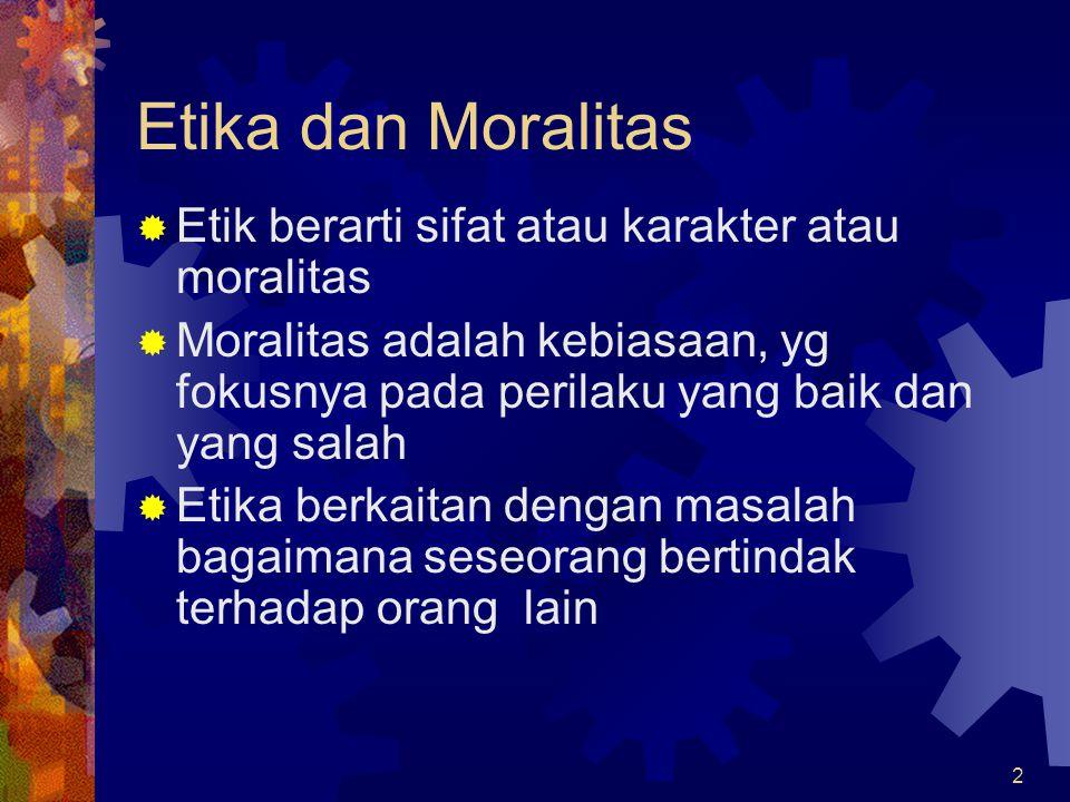 Etika dan Moralitas Etik berarti sifat atau karakter atau moralitas
