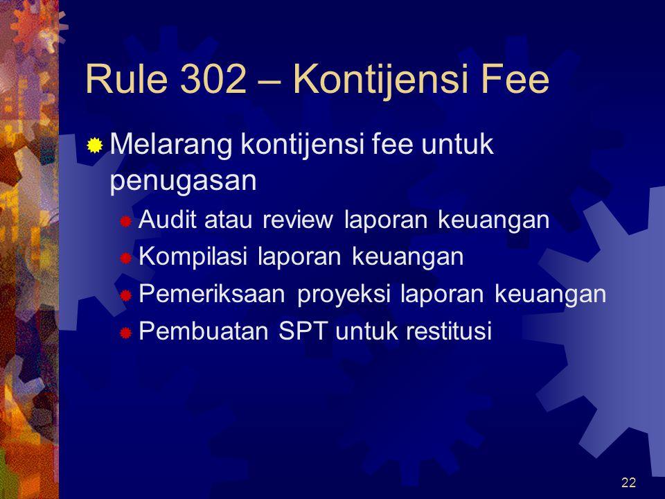 Rule 302 – Kontijensi Fee Melarang kontijensi fee untuk penugasan