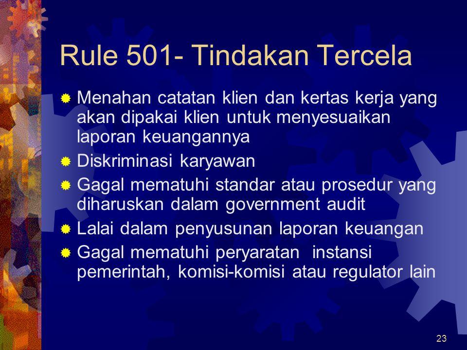 Rule 501- Tindakan Tercela