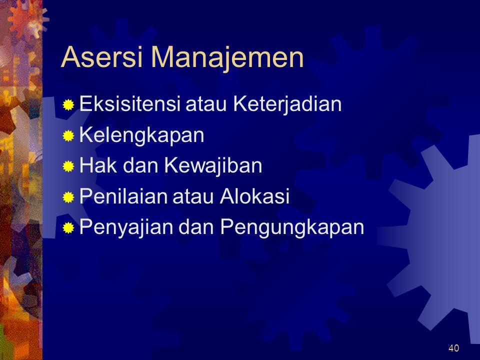 Asersi Manajemen Eksisitensi atau Keterjadian Kelengkapan