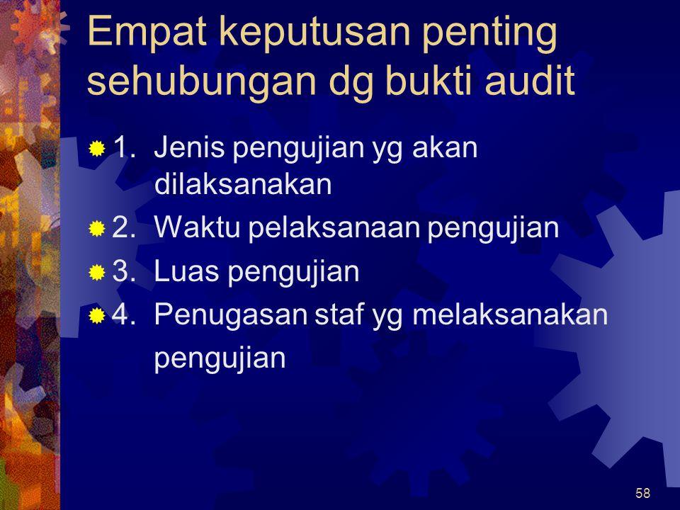 Empat keputusan penting sehubungan dg bukti audit