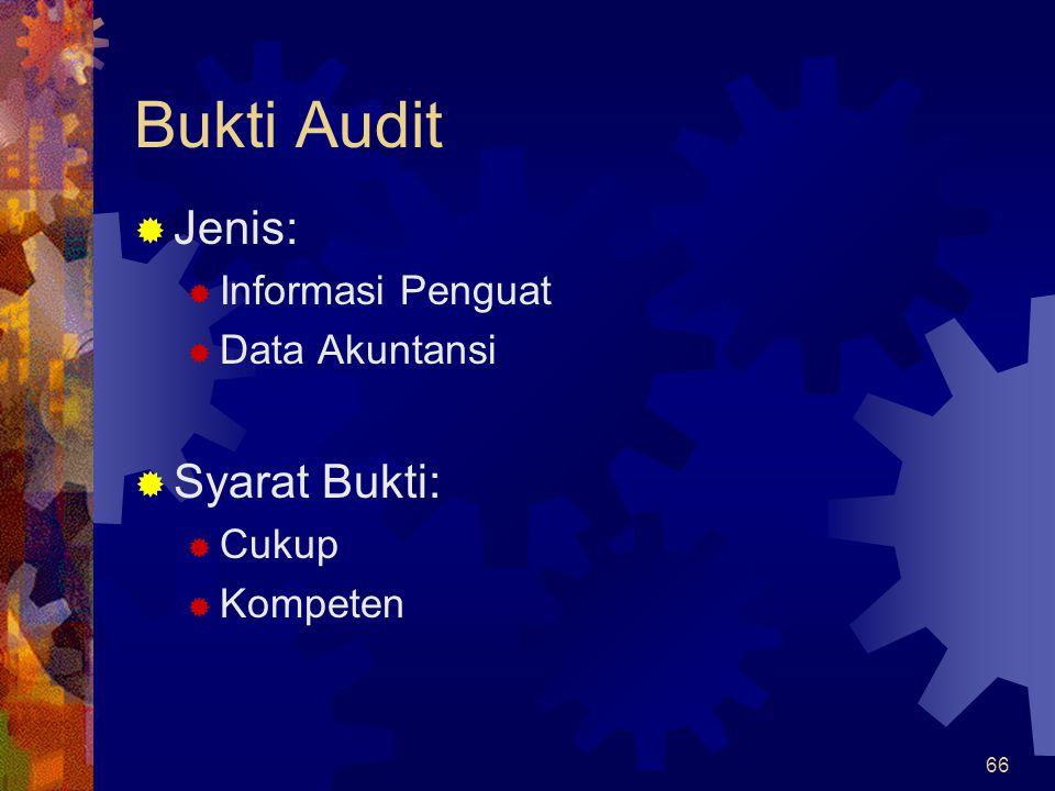 Bukti Audit Jenis: Syarat Bukti: Informasi Penguat Data Akuntansi