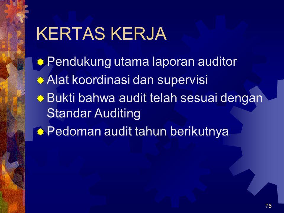 KERTAS KERJA Pendukung utama laporan auditor